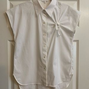 Helmut Lang Tops - Helmut Lang twist front capped sleeve white blouse